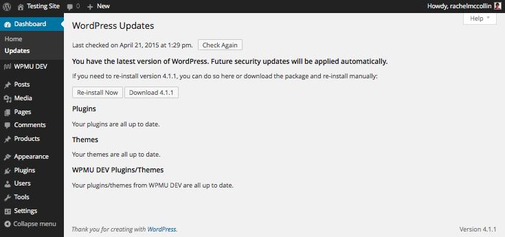 wordpress-updates-screen-updated